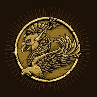 Oiseau avec écailles de poisson et corne mythologie animale iranienne