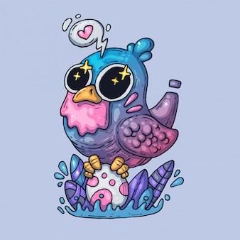 Un oiseau enchanté éclot un œuf. illustration créative. art de dessin animé pour le web et l'impression.
