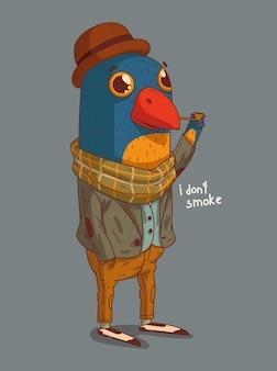 L'oiseau est un monsieur dans un chapeau et une écharpe fumant une pipe