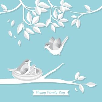 Oiseau familial style illustration art papier papier