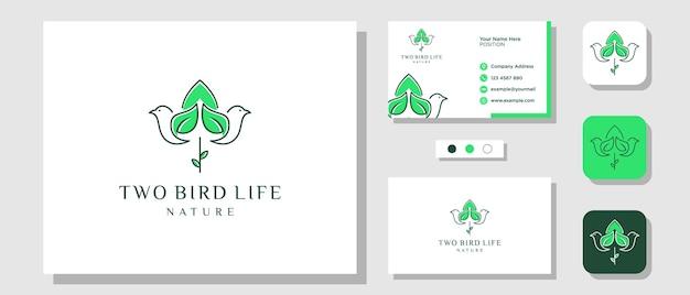 Oiseau feuille nature fleur verte tulipe illustration création de logo avec modèle de mise en page carte de visite