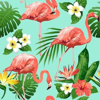 Oiseau Flamant Rose Et Fond De Fleurs Tropicales Vecteur Premium
