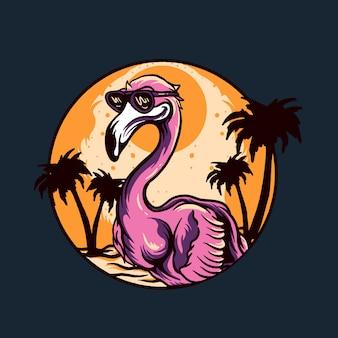 Oiseau flamant rose avec illustration de scène d'été