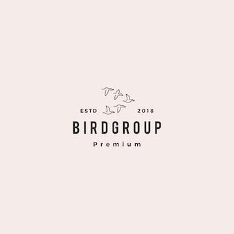 Oiseau groupe colonie logo vector icon illustration