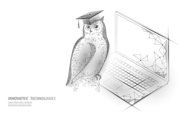 Oiseau hibou symbole de l'éducation sage. concept à distance e-learning.