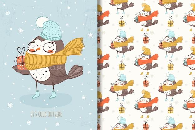 Oiseau d'hiver dessiné à la main avec cadeau