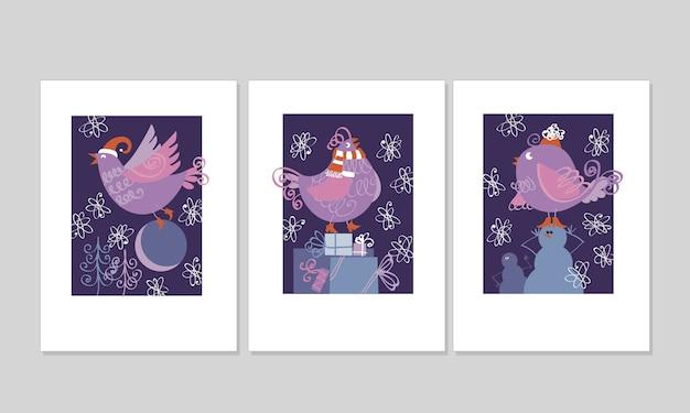 Oiseau d'hiver pour carte d'invitation