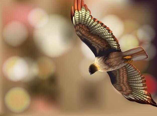 Un oiseau sur illustration flou