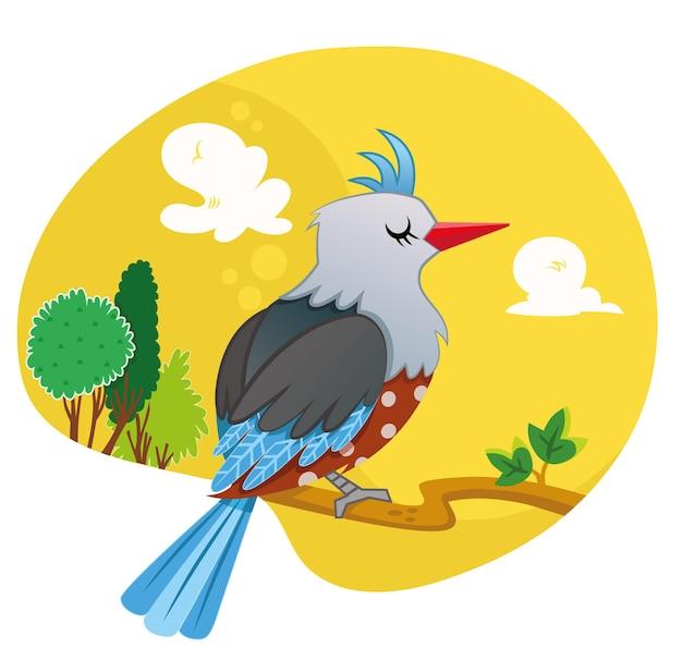 Oiseau sur l'illustration vectorielle de branche