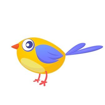 Oiseau jaune drôle de dessin animé