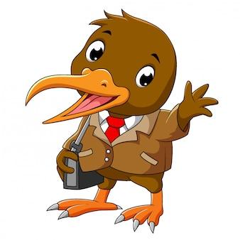 Un oiseau kiwi heureux dans une suite d'affaires d'illustration