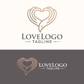 Oiseau logo coeur symbole vecteur stock