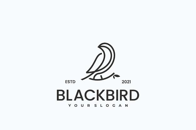 Oiseau logo hipster vintage rétro vecteur ligne contour mono dessin au trait