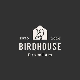 Oiseau maison hipster logo vintage icône illustration