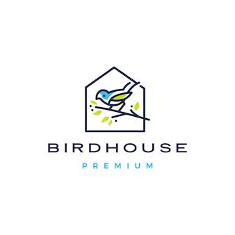 Oiseau maison logo icône illustration