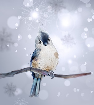 Oiseau mignon sur une branche d'aquarelle