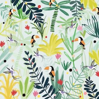 Oiseau mignon en illustration de dessin animé de forêt fantastique