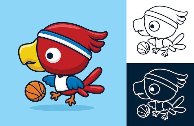 Oiseau mignon jouant au basket. illustration de dessin animé dans le style d'icône plate