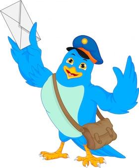 Oiseau mignon tenant un courrier