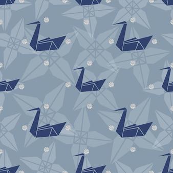 Oiseau origami en bleu transparent avec motif argenté