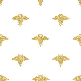 Oiseau origami en or transparent avec motif de point d'argent sur fond noir