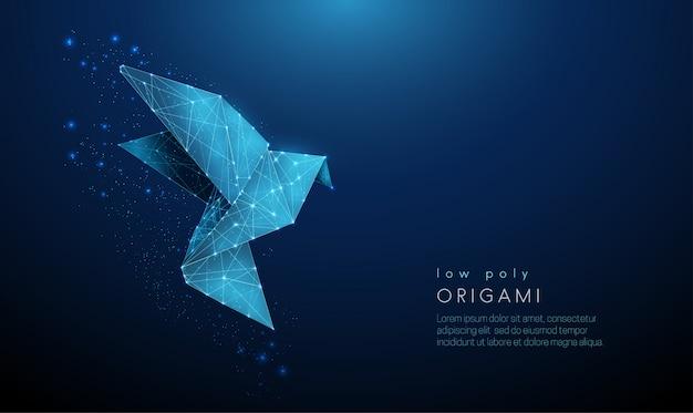 Oiseau origami en papier abstrait. modèle de style low poly.
