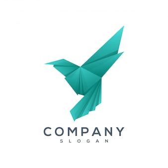 Oiseau origami style logo vecteur