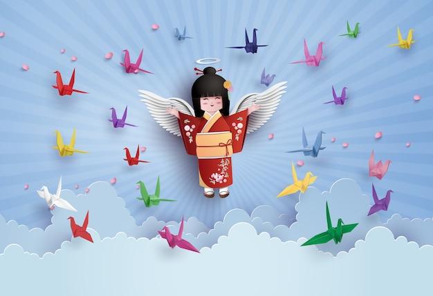 Oiseau en origami volant sur le ciel avec nuage.