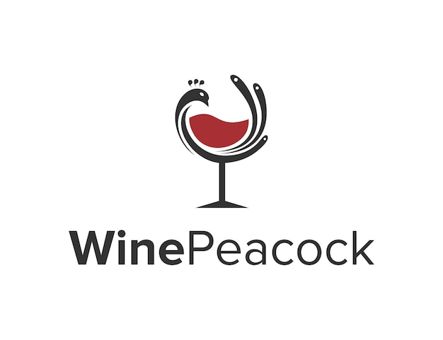 Oiseau de paon avec du vin en verre simple création de logo moderne géométrique élégant