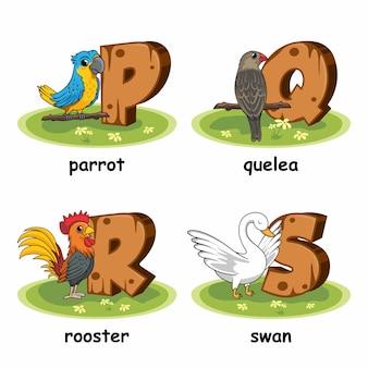 Oiseau perroquet quelea swan coq volaille alphabet en bois