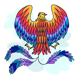 Oiseau phénix design dessiné à la main