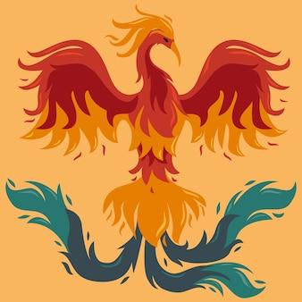 Oiseau phénix style dessiné à la main