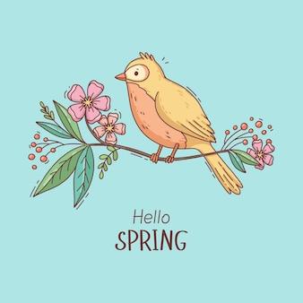 Oiseau de printemps mignon dessiné à la main sur une branche