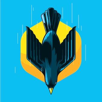 Oiseau qui vole avec illustration de la vitesse