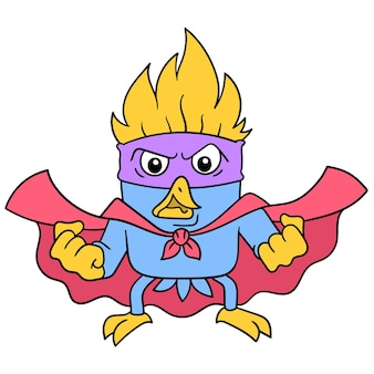 L'oiseau de super-héros au visage en colère recueille la force, l'art de l'illustration vectorielle. doodle icône image kawaii.