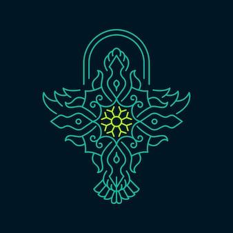 Oiseau symétrie ornement monoline abstrait