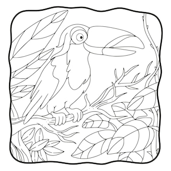 Oiseau de toucan d'illustration de dessin animé perché sur un livre ou une page d'arbre pour des enfants noirs et blancs