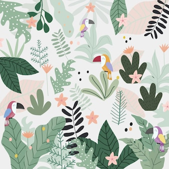 Oiseau toucan mignon dans le dessin animé de forêt tropicale.