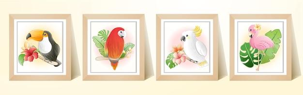 Oiseau tropical de dessin animé mignon aquarelle avec cadre