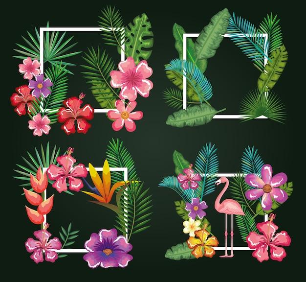 Oiseau tropical et exotique avec décoration florale
