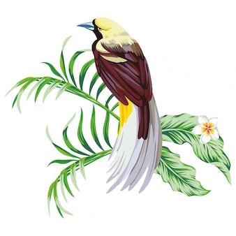 Oiseau tropical avec imprimé végétal