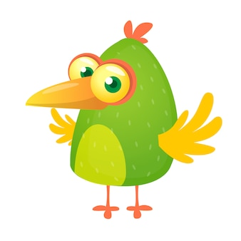 Oiseau vert de dessin animé