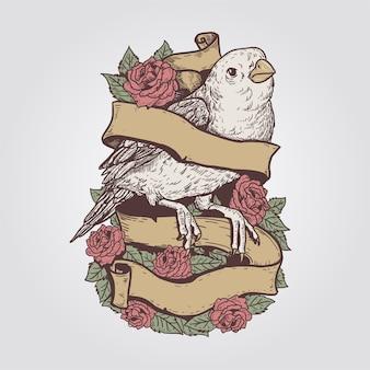 Oiseau vintage rose