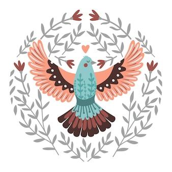 Oiseau volant dans les branches. volaille dessinée à la main avec des ailes, modèle d'illustration vectorielle d'oiseau d'hiver chantant mignon isolé sur fond blanc