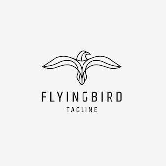 Oiseau volant avec modèle de conception de logo de style de ligne