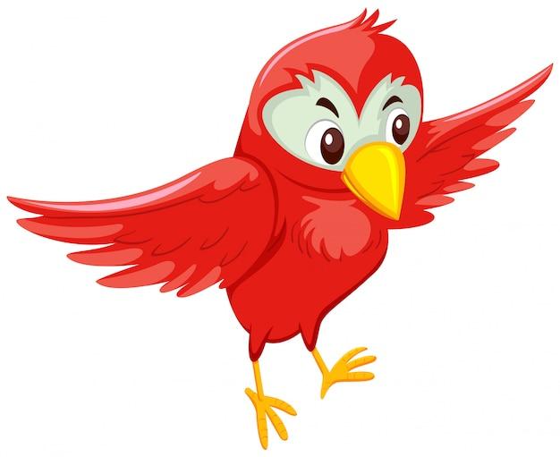 Oiseau volant rouge mignon