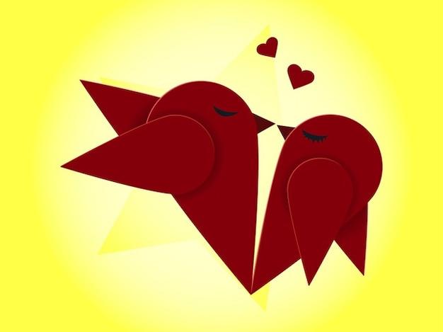Oiseaux adorables embrassant paquet vecteur