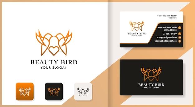 Les oiseaux aiment la collection de logos et la conception de cartes de visite