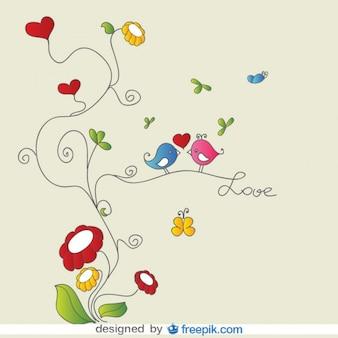 Oiseaux d'amour sur la carte florale ornements vecteur
