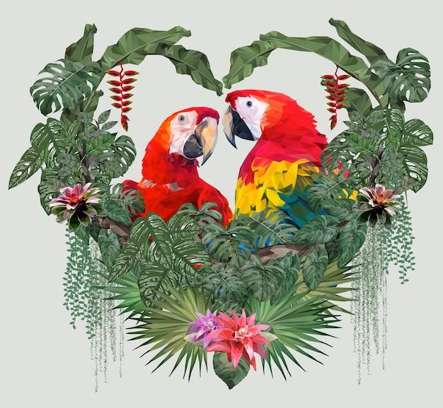 Oiseaux ara de couple illustration polygonale avec concept d'amour.